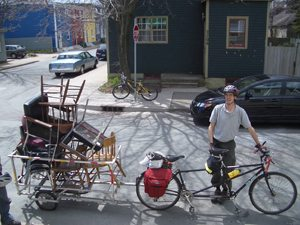 We used bike trailers such as this one to move furniture from our old location to the Fern Lane building.