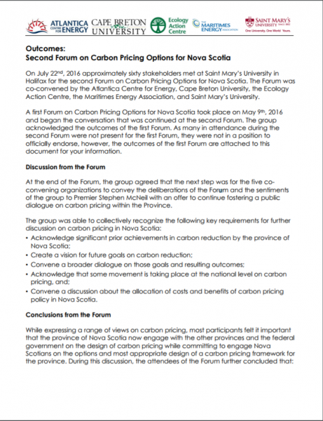 Cap And Trade And Carbon Pricing In Nova Scotia Ecology Action Centre